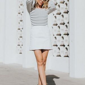 Top Shop white leather mini skirt